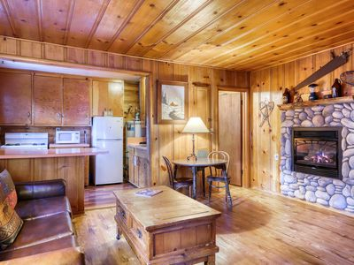 Photo for Dog-friendly rustic cabin w/ soothing shared hot tub; fenced grounds; trails