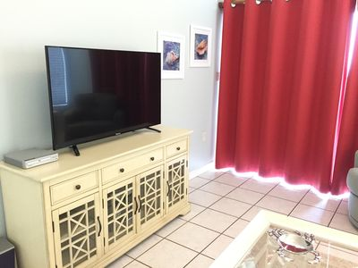 Living Room with Large HD TV, DVD and Stereo
