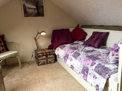 The mezzanine bedroom or relaxing room. Stretch out, read & enjoy the view.