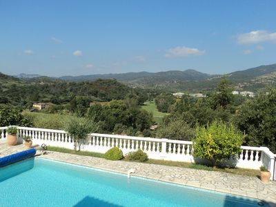 View from kitchen terrace over pool area