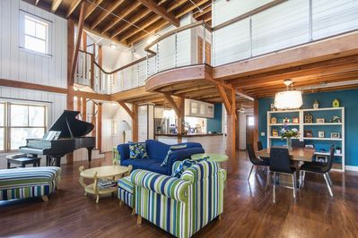 2 story great room with timber frame and exposed beams