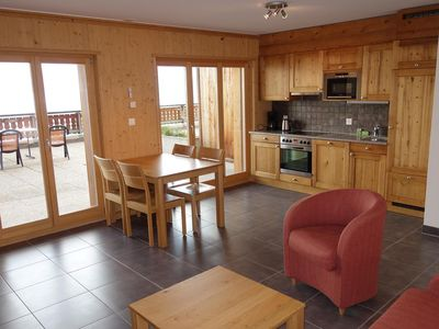 Photo for 4* studio for 2 people located on the slopes. Bright living room with a sofa bed, cable TV, DVD play