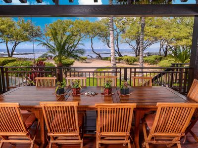 covered  lanai overlooking sandy beach