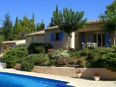 Photo for Provencal farmhouse / 1 large house + a small house with secure pool and garden