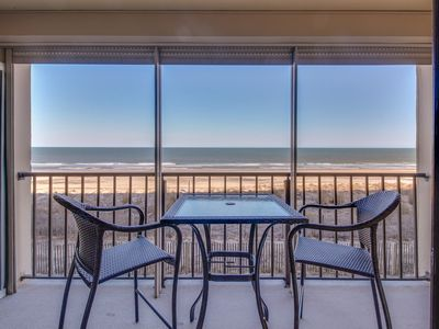 Photo for Oceanfront beach condo w/ shared pool. Walk to Delaware!