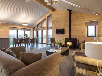 Photo for RF Sheep -Luxury Log Cabin, Real Log Fire, Hot Tub & Fell Views in National Park