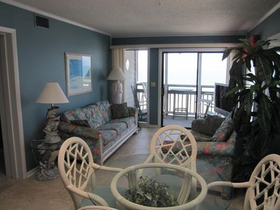 Oceanfront Living Room with  queen size sofabed.