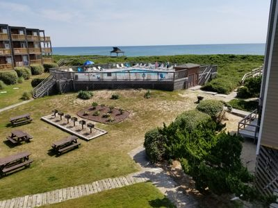 Photo for Ocean View, End Unit Condo, 1 BR, 2 BA, sleeps 6 at Colony By The Sea in Duck