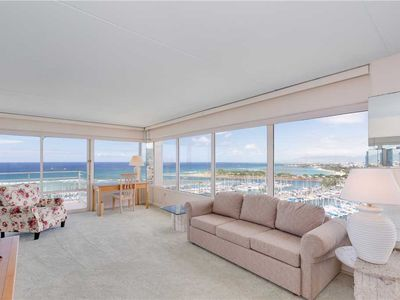 Photo for Incredible Ocean views from this 2 bdrm condo at Ilikai Hotel #1743