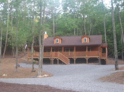 Front View of Cabin overlooking large pond