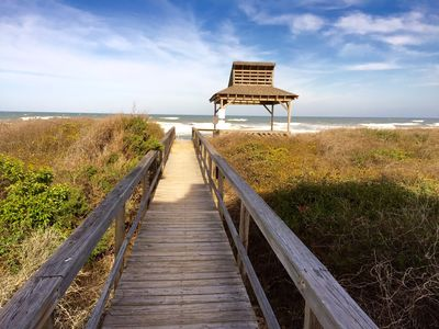 This walkway to the beach is just minutes from the door of the Sea and Sky!