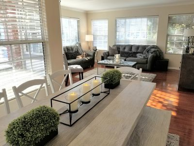 Bright, open dining/living area