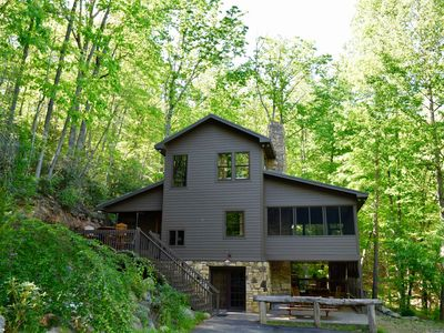 Photo for Swinging Beds on Porch+3 Decks, Hot Tub, Fresh Eggs, 10 Mi from Asheville