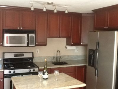 Beautiful kitchen fully equipped with gas stove, oven and built in microwave.