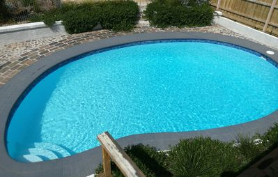 Large deep solar heated pool!! Brings a calm to your stay.