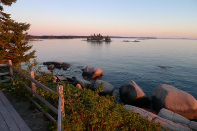 View of Penobscot Bay from deck facing SE at sunset.
