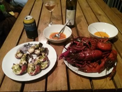 A feast of freshly caught Marron cooked with Garlic Butter and Herbs.