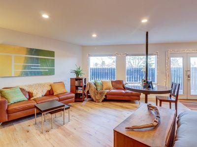 Photo for Bright Ballard studio w/ patio & fireplace -  walk to Golden Gardens Park!
