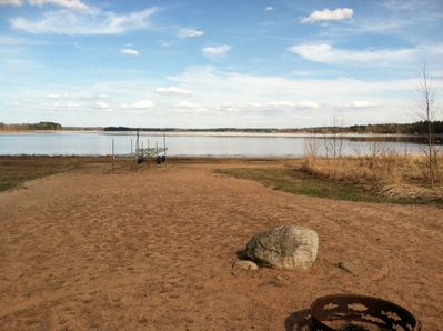 Sandy beach with shallow entry. Dock your boat or rent our pontoon! Great fish!