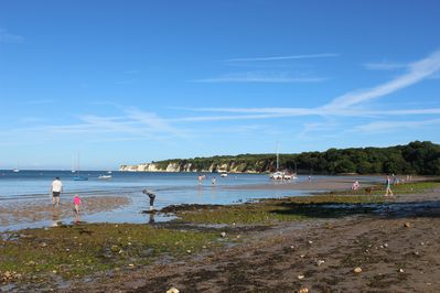 Low tide at South beach Studland. The perfect spot for shrimping!