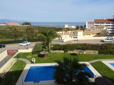 Photo for Stunning two bedroom apartment 500 metres from the beach with sea views