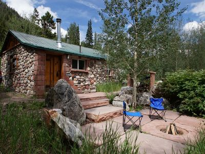 Photo for Cozy Rustic Stone Cabin at Berthoud Pass