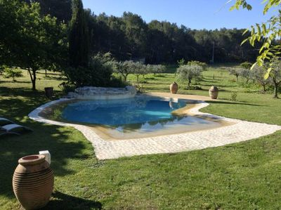pool edges in natural wooded 15 000m2 garden, meadows with horses ...