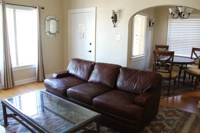 Comfortable leather couch, 42 inch TV - modern amenities in 1920's bungalow