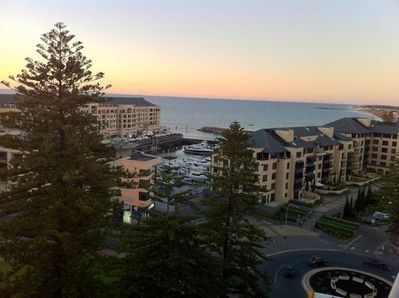 Balcony views over Holdfast Shores Marina and the ocean