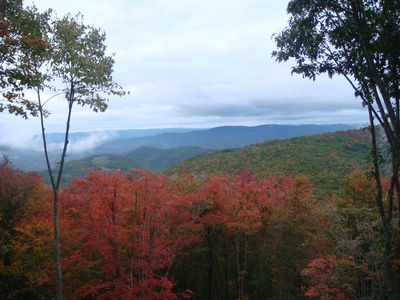 The view from our two 40 foot decks in the Fall is outstanding!