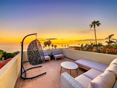 Photo for Steps to Sand, w/ Courtyard, Rooftop Deck, Hot Tub & Views