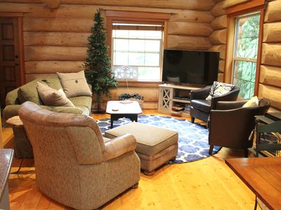 Photo for Three story log cabin w/ game room, hot tub, BBQ, and all the extras