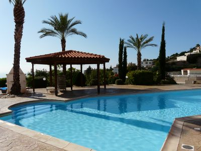 Photo for Luxury Apartment Peyia  Wi-Fi,  pool. Mountainside spectacular view to the sea.