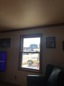 Enjoy the view of the stadium from the front living room