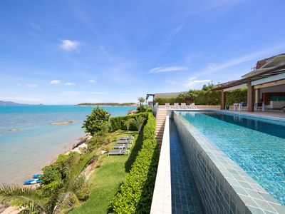 Photo for Oceanfront Modern Luxurious 4 bedroom Villa with stunning seaviews and sunsets