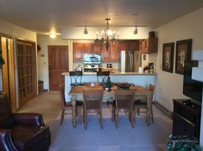 Full Dining Room & Kitchen with all new, shiny appliances.