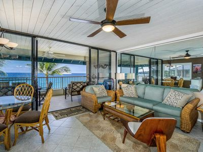 Photo for Private oceanfront condo with lanai, sound bar, next to Honl's Beach