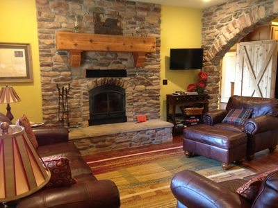 Living room with fireplace, TV and DVD player