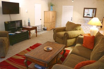 The living room is a great place to relax at the end of a day of fun.