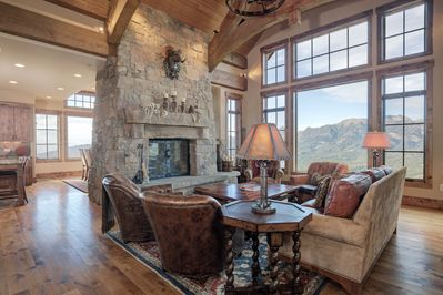 Formal living room with amazing views of the Spanish Peaks