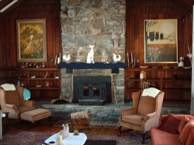Grand Fireplace Room (with pull out queen sofa bed and Woodstove)