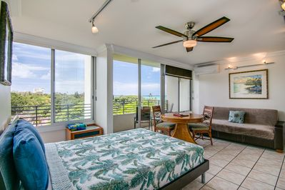 Simple stylish, super close to beach and with a private balcony .