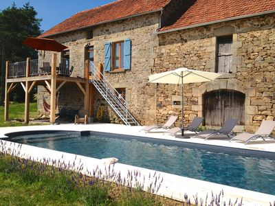 Photo for Luxury Farmhouse in Dordogne Valley, large private Heated Pool, amazing views