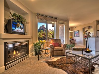 Photo for *Beautiful Views * Private Deck *Jetted Tub * Fireplace* Walk to All!