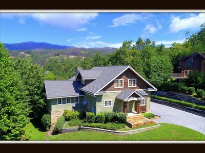 Photo for Catch Of A Lifetime} mtn views \ pool table \ fireplace \ 3 jacuzzi tubs \ hot tub \ firepit