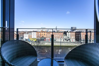 the apartment's Front Balcony River Liffey View