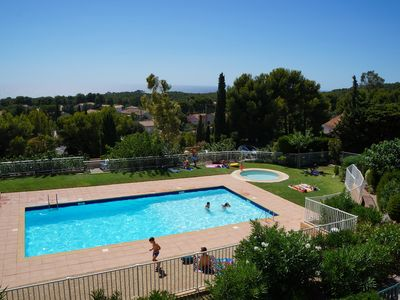 Photo for South facing apartment. Panoramic sea view. Pool, Loggia .WIFI .4 pers .Calme