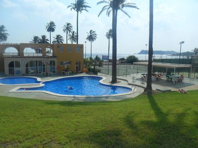 Photo for Ground floor 2 bed apartment with pool , 500m to the beach, bars & restraunts.