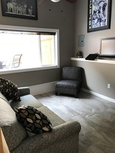 Spacious Living Area with brand new sofa bed