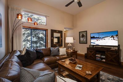 "65"" TV with sound bar, Winterpoint 24 www.skiingbreck.com"
